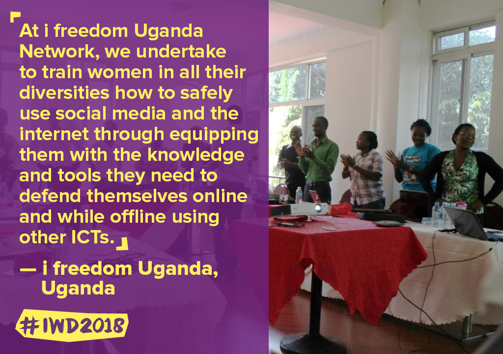 At i freedom Uganda Network, we undertake to train women in all their diversities how to safely use social media and the internet through equipping them with the knowledge and tools they need to defend themselves online and while offline using other ICTs.