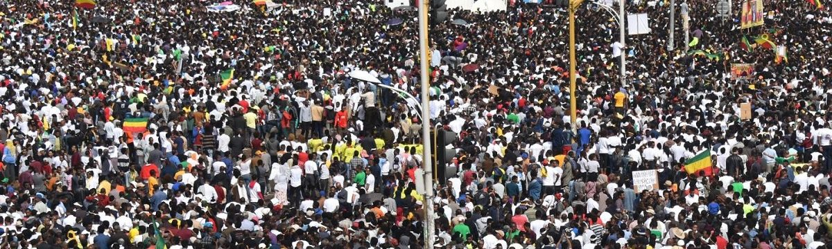 Crowd of protesters in Ethopia