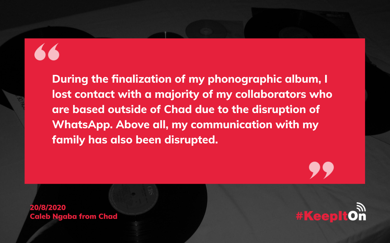 Caleb Ngaba on August 20, 2020 1:14:07 - During the finalization of my phonographic album, I lost contact with a majority of my collaborators who are based outside of Chad due to the disruption of WhatsApp. Above all, my communication with my family has also been disrupted.