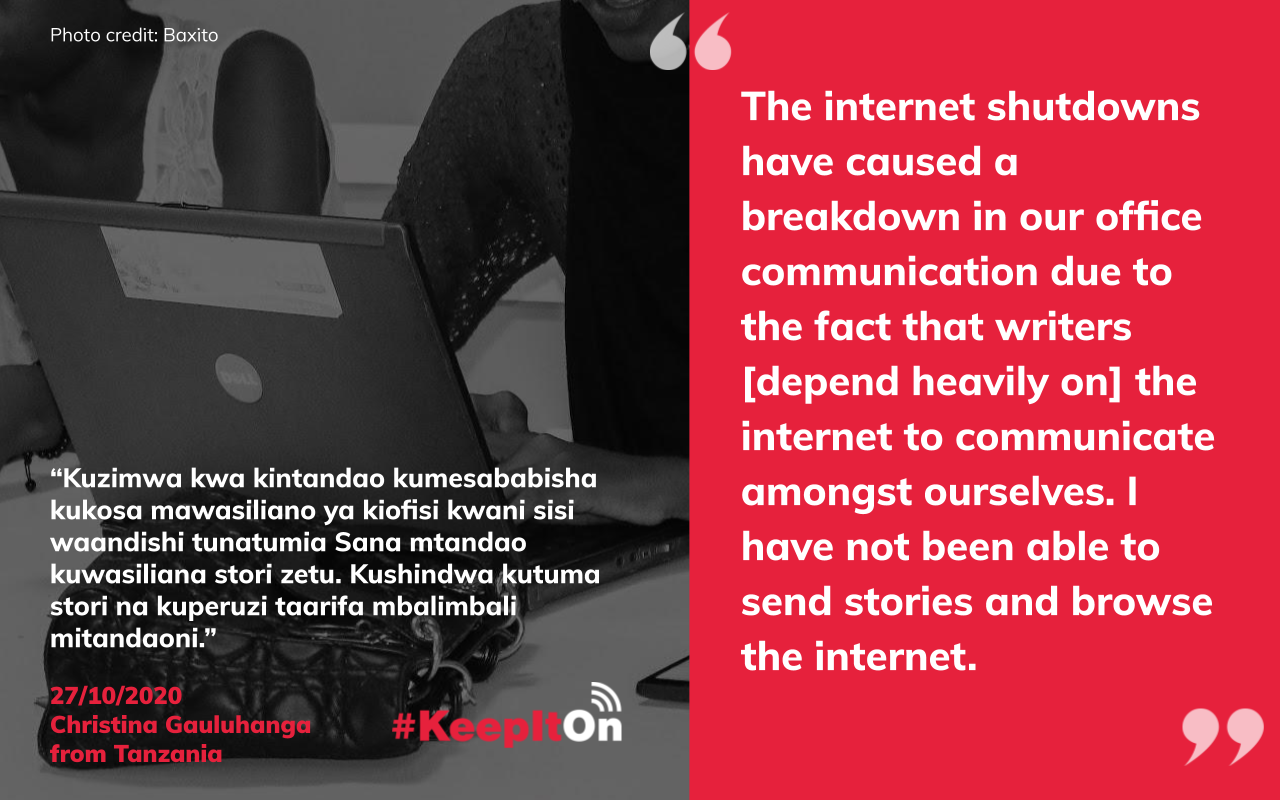 The internet shutdowns have caused a breakdown in our office communication due to the fact that writers [depend heavily on] the internet to communicate amongst ourselves. I have not been able to send stories and browse the internet.