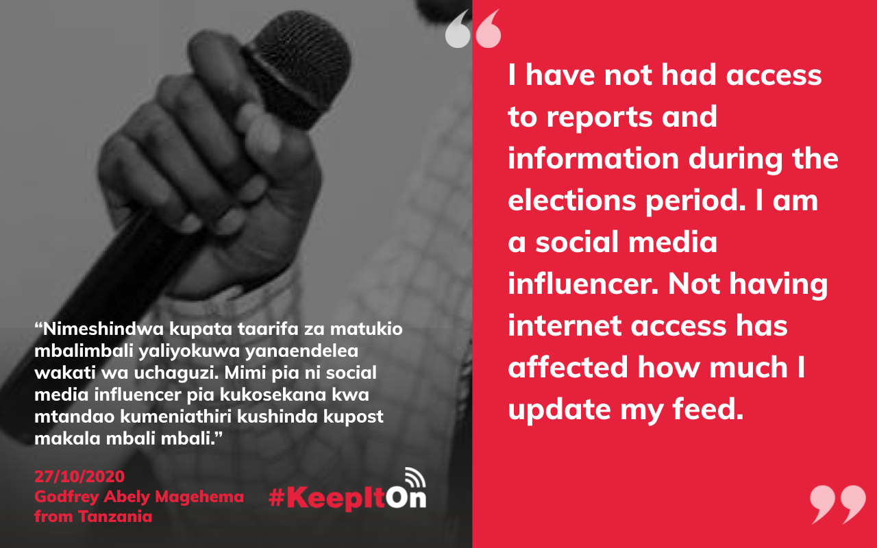I have not had access to reports and information during the elections period. I am a social media influencer. Not having internet access has affected how much I update my feed.