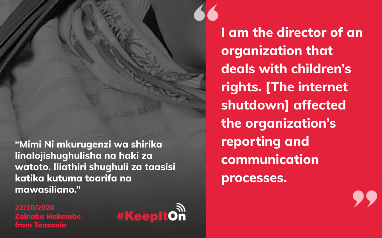 I am the director of an organization that deals with children's rights. [The internet shutdown] affected the organization's reporting and communication processes.