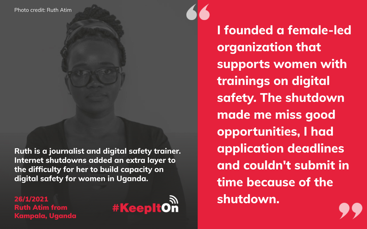 I founded a female-led organization that supports women with trainings on digital safety. The shutdown made me miss good opportunities, I had application deadlines and couldn't submit in time because of the shutdown.