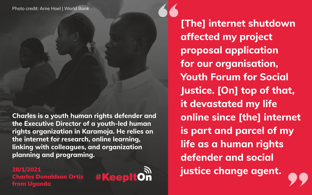 [The] internet shutdown affected my project proposal application  for our organisation, Youth Forum for Social Justice. [On] top of that, it devastated my life online since [the] internet is part and parcel of my life as a human rights defender and social justice change agent.