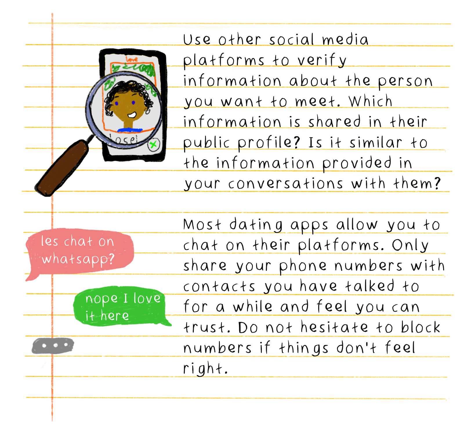 Use other social media platforms to verify information about the person you want to meet. Which information is shared in their public profile? Is it similar to the information provided in your conversations with them? Most dating apps allow you to chat on their platforms. Only share your phone numbers with contacts you have talked to for a while and feel you can trust. Do not hesitate to block numbers if things don't feel right.