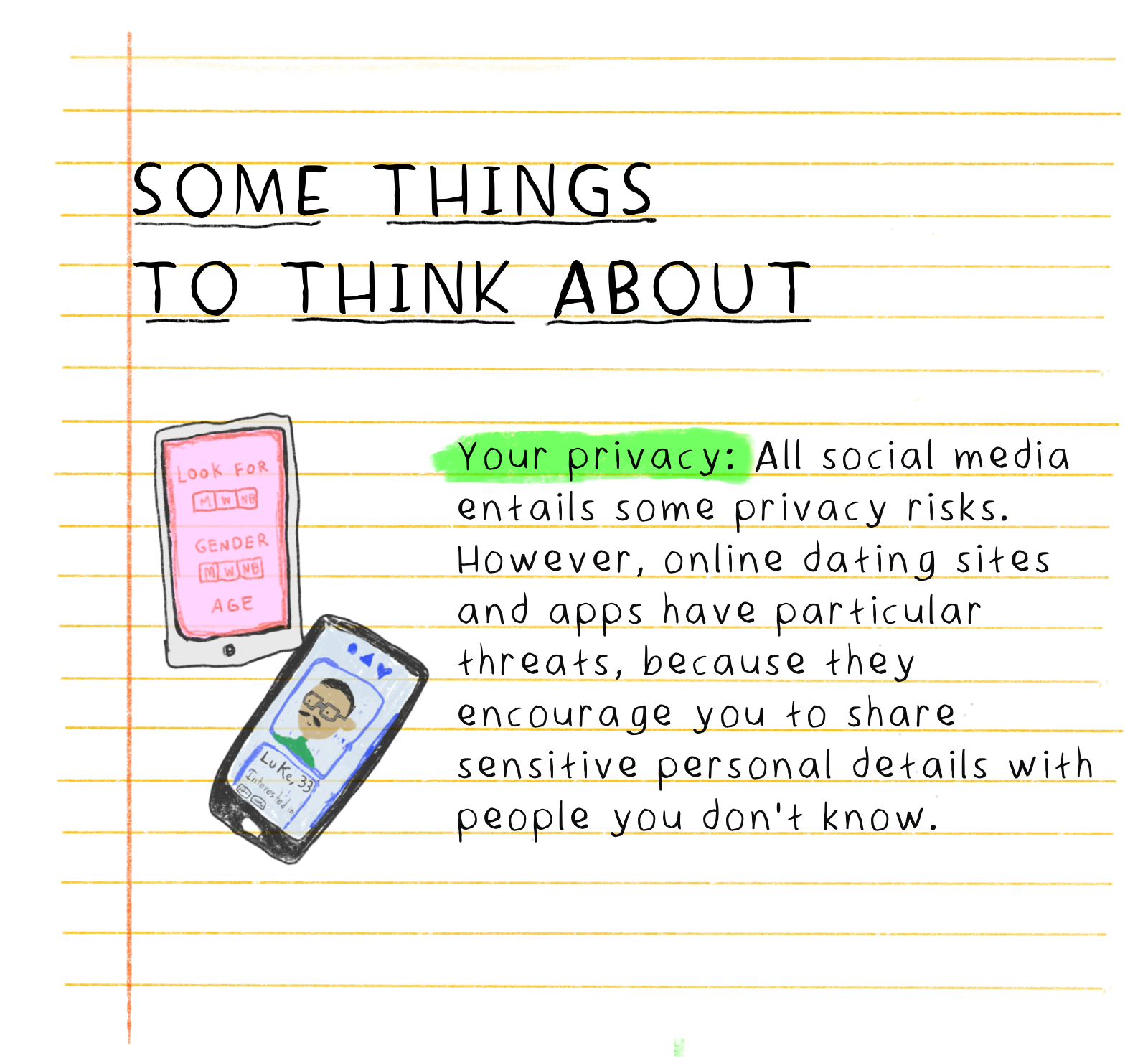 Some things to think about ... Your privacy: All social media entails some privacy risks. However, online dating sites and apps have particular threats, because they encourage you to share sensitive personal details with people you don't know.