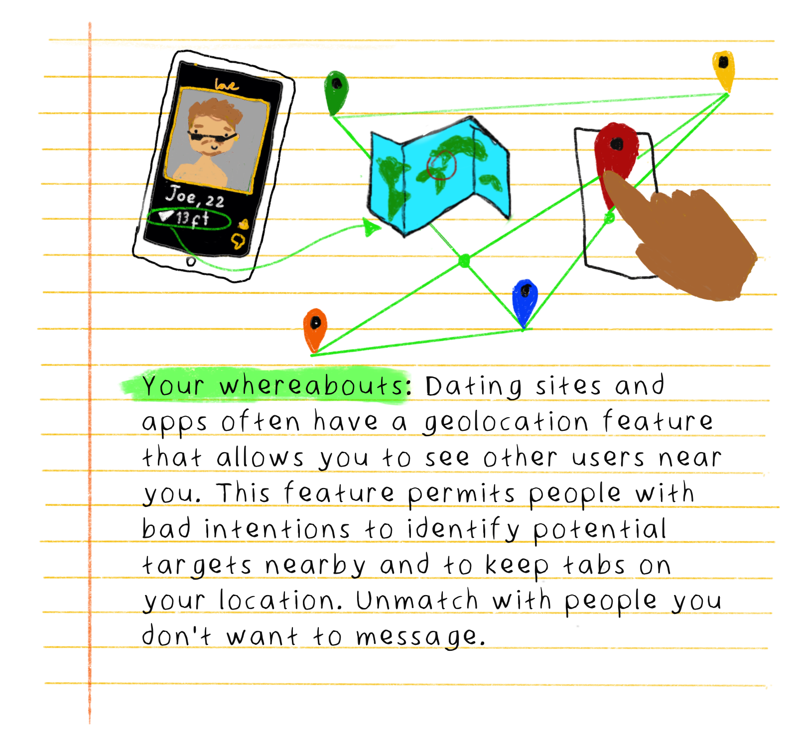 Your whereabouts: Dating sites and apps often have a geolocation feature that allows you to see other users near you. This feature permits people with bad intentions to identify potential targets nearby and to keep tabs on your location. Unmatch with people you don't want to message.